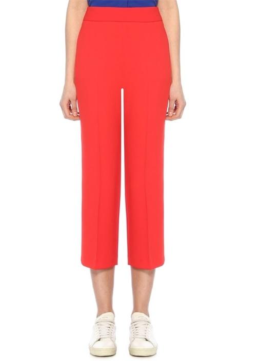 Kırmızı Yüksek Bel Krep Pantolon