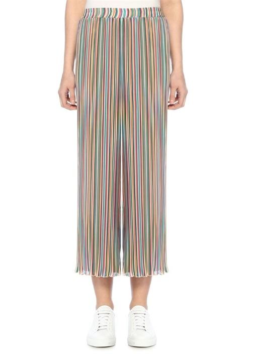 Yüksek Bel Renkli Çizgili Bol Paça Pantolon