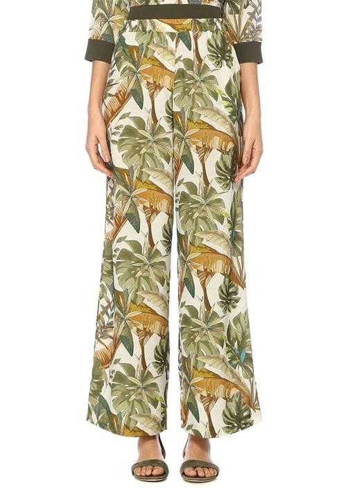 Tropikal Desenli Pijama Formlu Bol İpek Pantolon