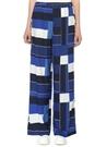 Mavi Geometrik Desenli Bol Paça Pantolon