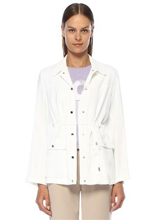 Beyaz Beli Büzgülü Safari Ceket