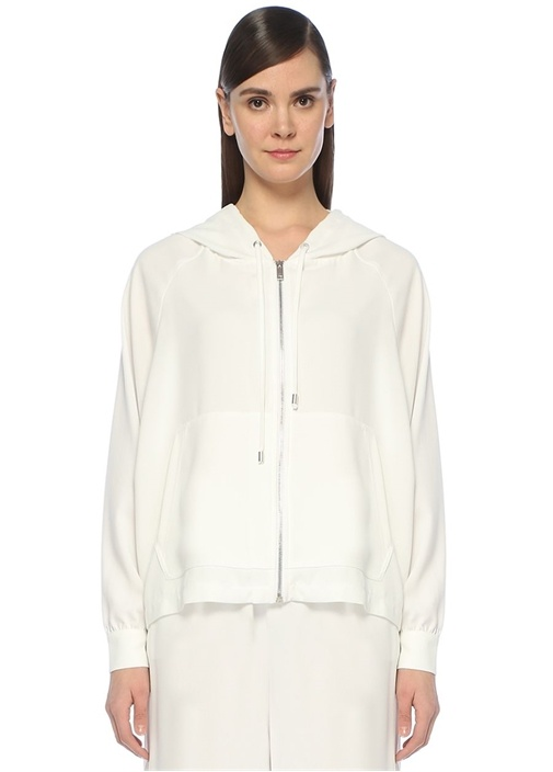 Beyaz Kapüşonlu Sıra Taşlı Fermuarlı Sweatshirt