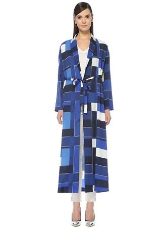Mavi Geometrik Desenli Kimono Formlu Uzun Pardösü