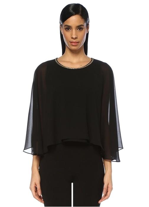 Siyah Gold Boncuk Detaylı Pelerin Formlu Bluz