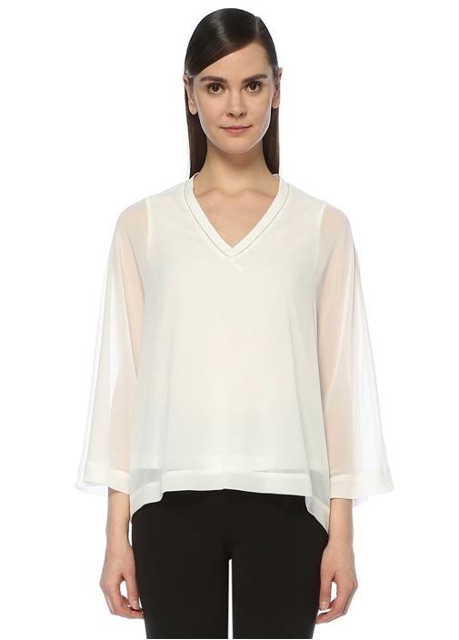 Beyaz V Yaka Zincirli Yarasa Kol Şifon Bluz