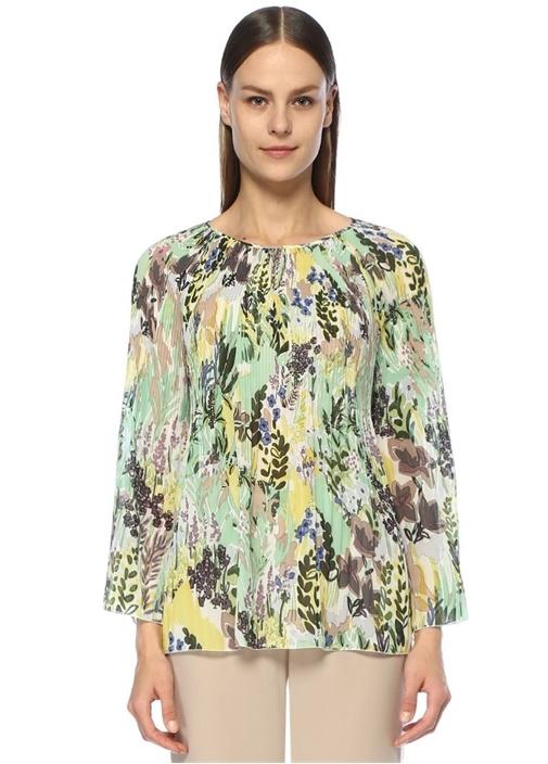 Botanik Desenli Pilili Uzun Kol Şifon Bluz