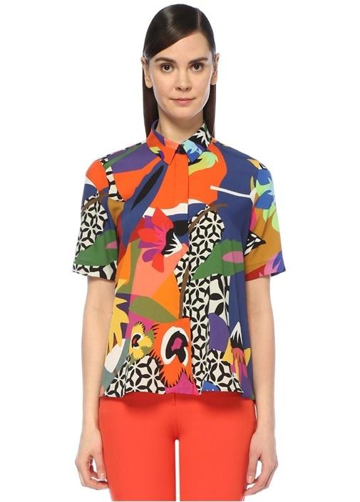 Pop Desenli Yarım Kol Önü Kısa Gömlek