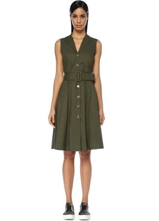 Kadın Haki Beli Kemerli Kolsuz Midi Gömlek Elbise 42
