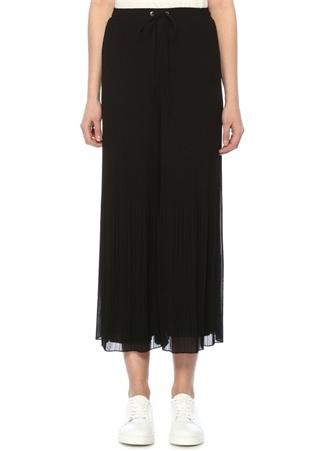 Siyah Yüksek Bel Pileli Bol Crop Şifon Pantolon