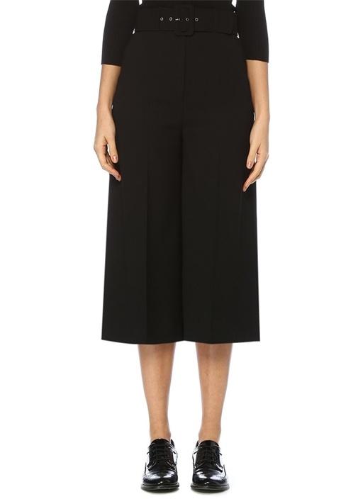 Siyah Bol Paça Kemer Detaylı Pantolon