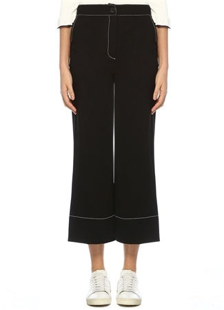 Siyah Beyaz Dikiş Detaylı Bol Paça Pantolon