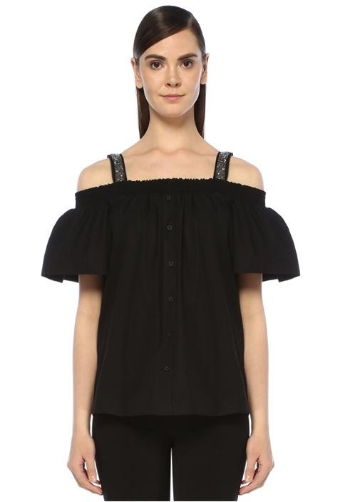Siyah Omzu Açık İşlemeli Askı Detaylı Poplin Bluz