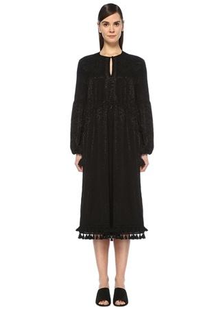 Kadın Siyah Jakarlı Etek Ucu Püsküllü Midi Elbise 34