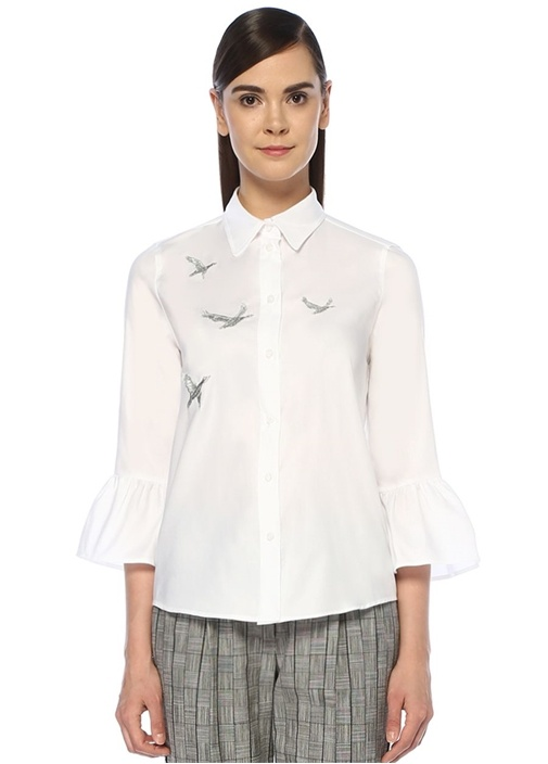 Beyaz Kuş Nakışlı Kolu Volanlı Oxford Gömlek