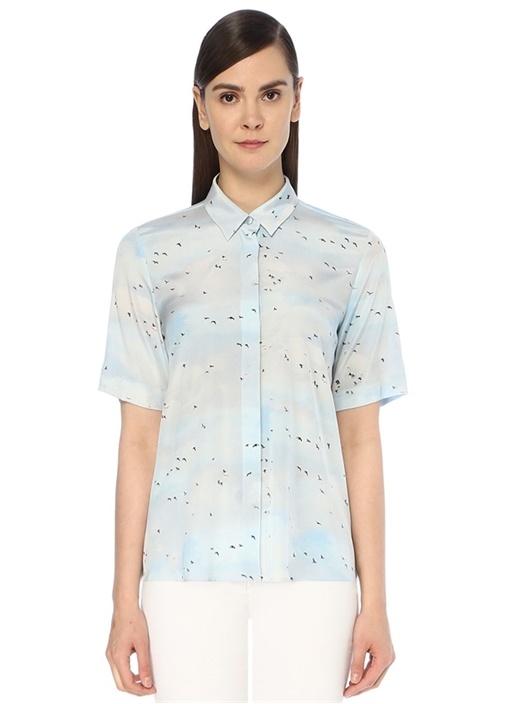 Mavi Kuş Desenli Kısa Kol İpek Gömlek