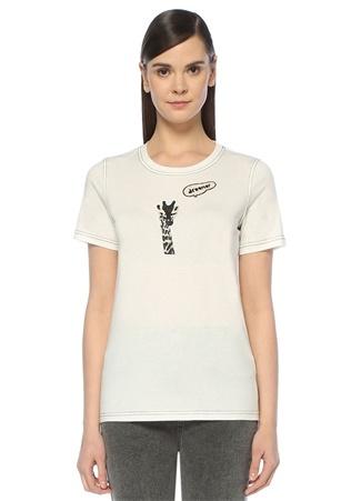 Beyaz Zürafa İşlemeli Kontrast Dikişli T-shirt