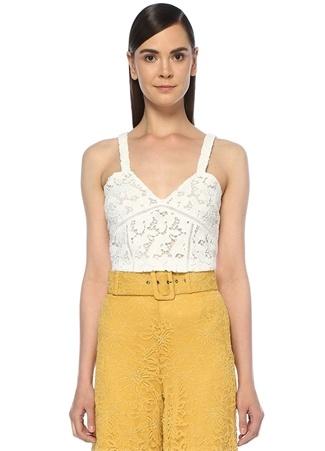 Beymen Club Kadın Beyaz V Yaka Crop Güpür Dantel Bluz S
