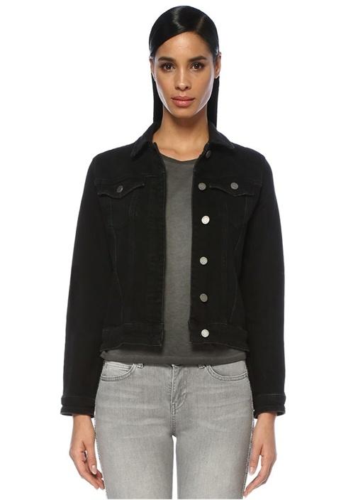 Siyah Sırtı Tropikal Taş Baskılı Jean Ceket