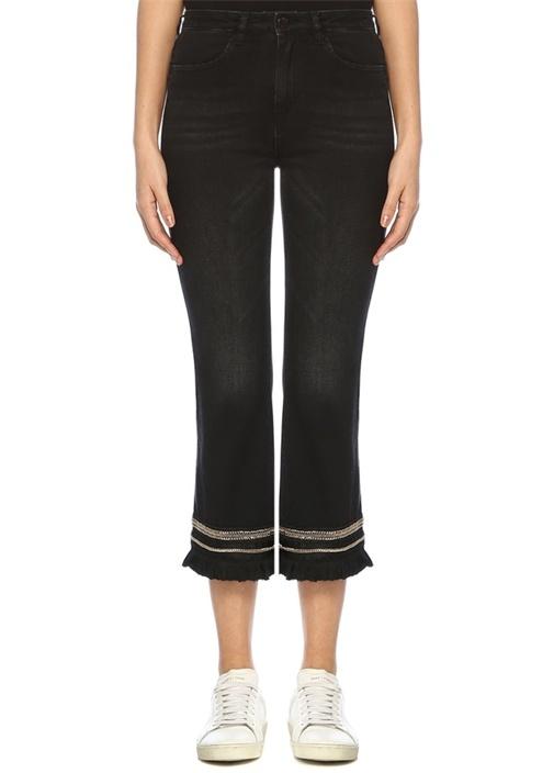 Siyah Paçası Püsküllü İşlemeli Crop Jean Pantolon