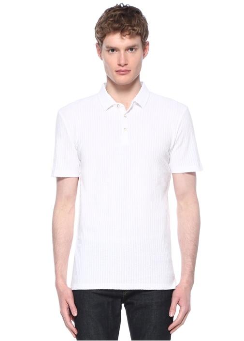 Slim Fit Beyaz Çizgi Jakarlı Polo Yaka T-shirt