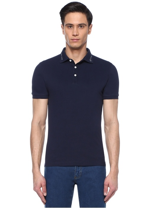 Slim Fit Sloganlı Polo Yaka T-shirt