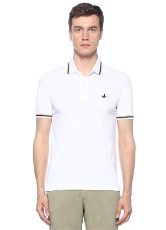 Beyaz Polo Yaka Pike Dokulu T-shirt