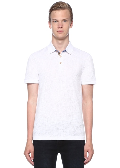 Slim Fit Beyaz Polo Yaka Dokulu Oxford T-shirt