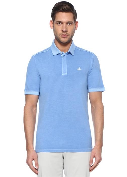 Comfort Fit Mavi Polo Yaka Logolu T-shirt