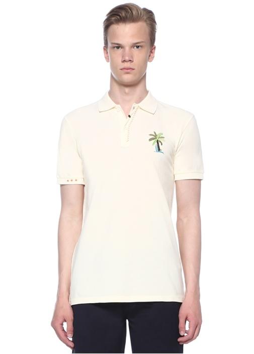 Slim Fit Ekru Polo Yaka Palmiye NakışlıT-shirt