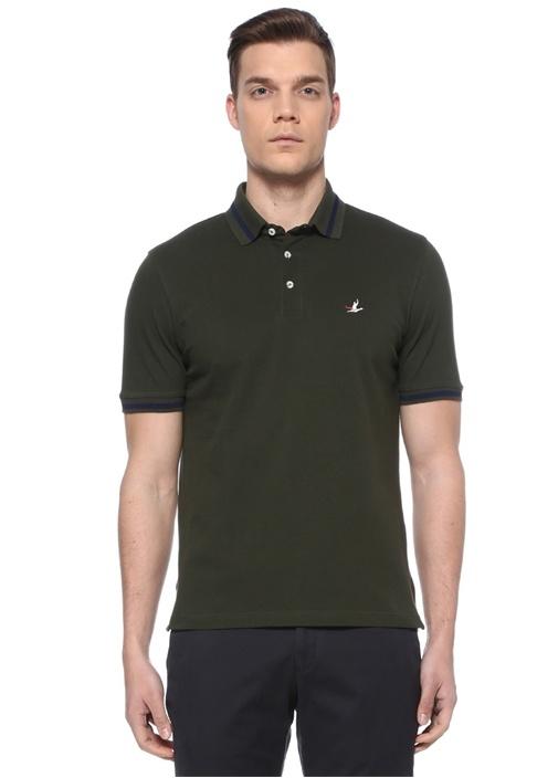 Comfort Fit Haki Çizgi Detaylı T-shirt