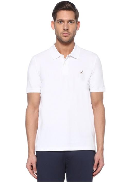 Comfort Fit Ekru Polo Yaka Logolu T-shirt