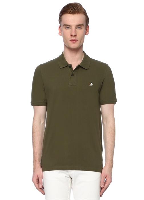Comfort Fit Haki Polo Yaka Kuş Logolu T-shirt