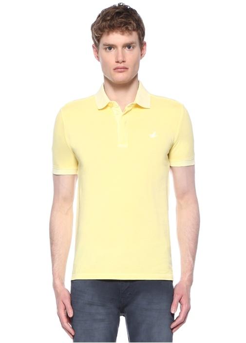 Slim Fit Sarı Logo Nakışlı Polo Yakalı T-shirt