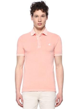 Erkek Slim Fit Somon Polo Yaka Pike Dokulu T-shirt Turuncu XL