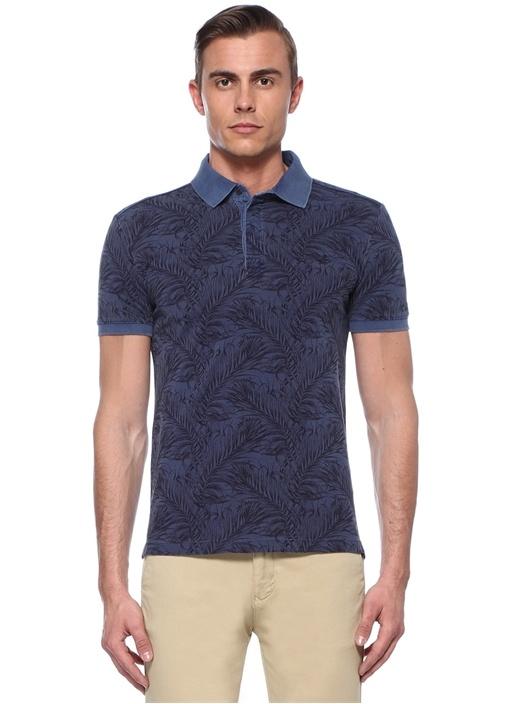 Slim Fit Lacivert Tropik Desenli Polo Yaka T-shirt