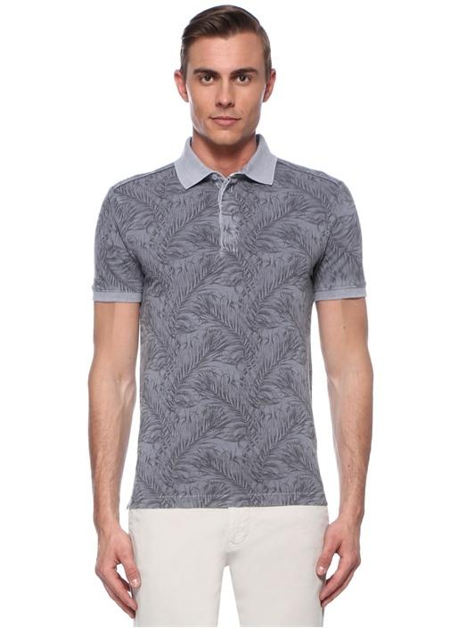 Slim Fit Gri Tropik Desenli Polo Yaka T-shirt