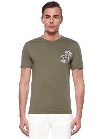 Haki Bisiklet Yaka Palmiye Baskılı T-shirt