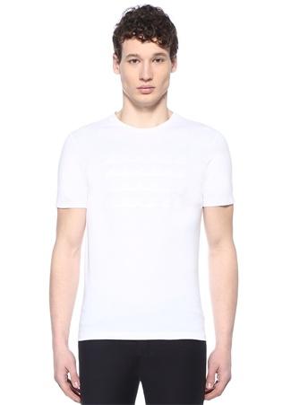 Beyaz Bisiklet Yaka Dalga Desenli T-shirt