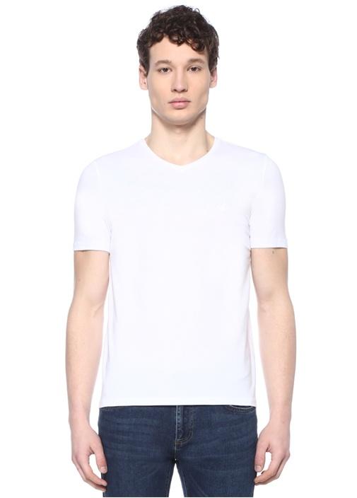 Beyaz V Yaka Logo Nakışlı Basic T-shirt