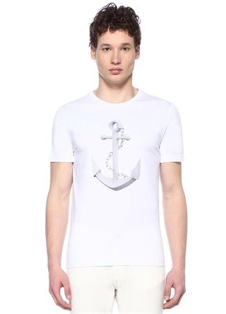 Beyaz Bisiklet Yaka 3D Çapa Baskılı T-shirt