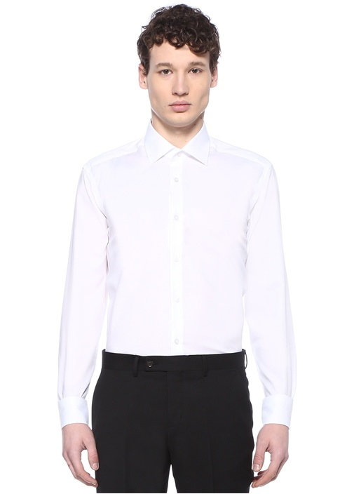 Non Iron Comfort Fit Beyaz Twill Gömlek