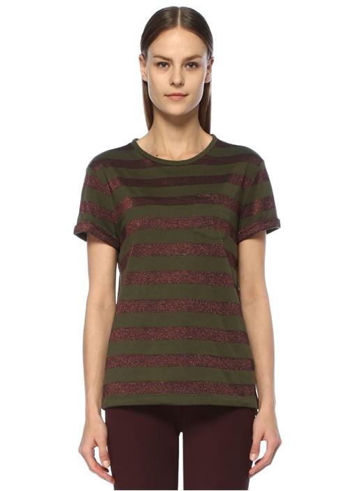 Haki Simli Çizgili Cep Detaylı T-shirt