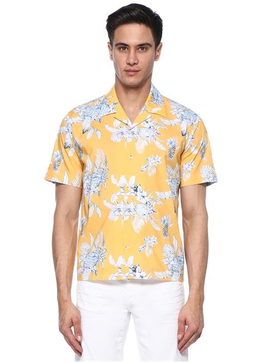 Custom Fit Sarı Çiçek Baskılı Gömlek