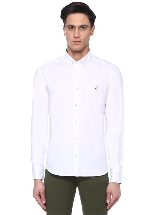 Comfort Fit Beyaz Düğmeli Yaka Oxford Gömlek