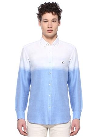 792d207cd99cf Beymen Club Erkek Comfort Fit Düğmeli Yaka Degradeli Keten Gömlek Mavi S