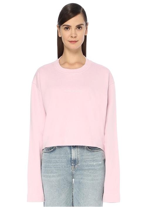 Pembe Logolu Oversize Crop Sweatshirt