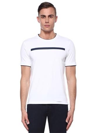 Beyaz Lacivert Şerit Baskılı Travel T-shirt