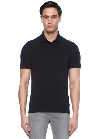 Erkek Lacivert Polo Yaka Pike Dokulu T-shirt XXXL IT