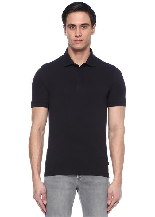 Lacivert Polo Yaka Pike Dokulu T-shirt