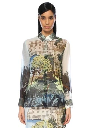 Chika Manzara Baskılı Transparan İpek Gömlek